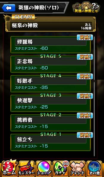 「英雄の神殿」ステージは6種類
