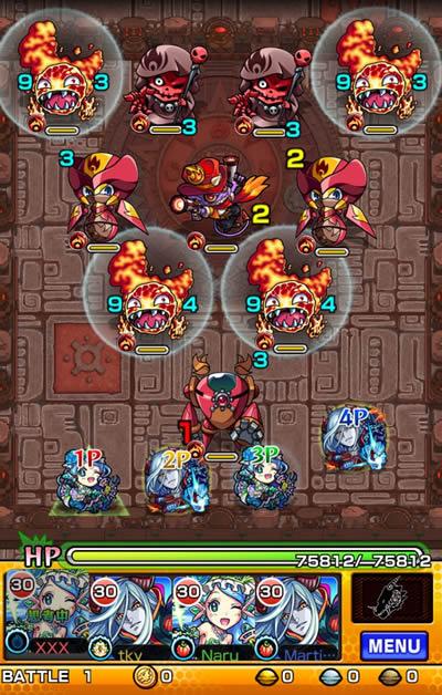 英雄の神殿/火属性「獄炎の神殿 時の間/修羅場」バトル01